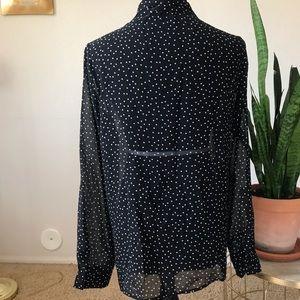 Forever 21 Tops - Forever 21 black & white polka dot sheer blouse L
